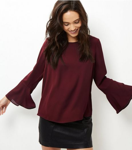 Burgundy Bell Sleeve Top  | New Look