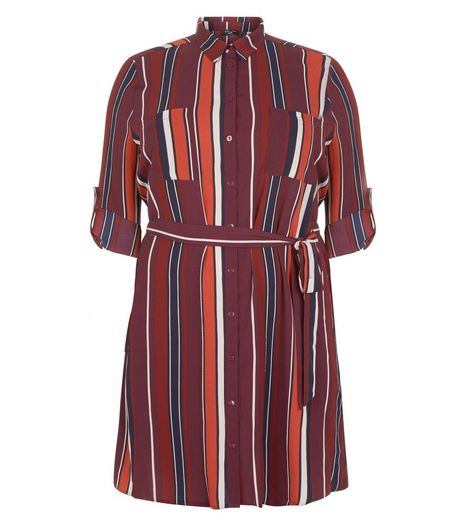 Curves Burgundy Stripe Longline Shirt | New Look