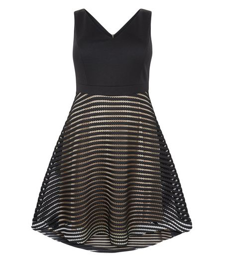Curves Black Stripe Mesh Skater Dress | New Look