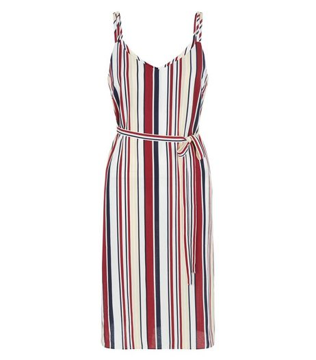 Petite White Stripe Midi Slip Dress | New Look