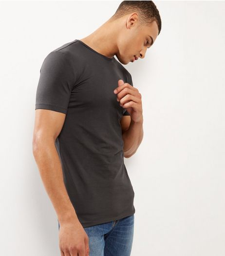 Grey Cotton Longline T-Shirt | New Look