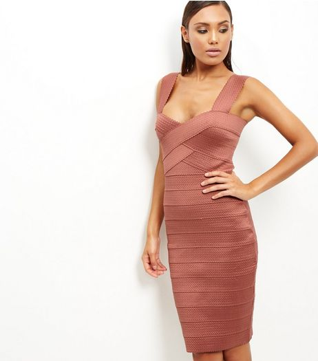 Mid Pink Bandage Bodycon Midi Dress | New Look