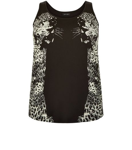 Curves Black Cheetah Print Vest | New Look