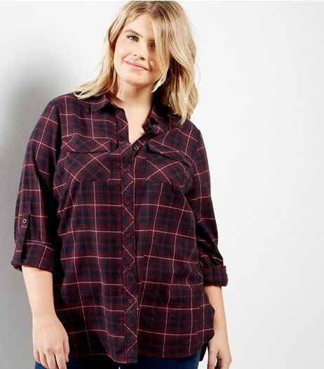 Curves Purple Cotton Check Print Shirt | New Look