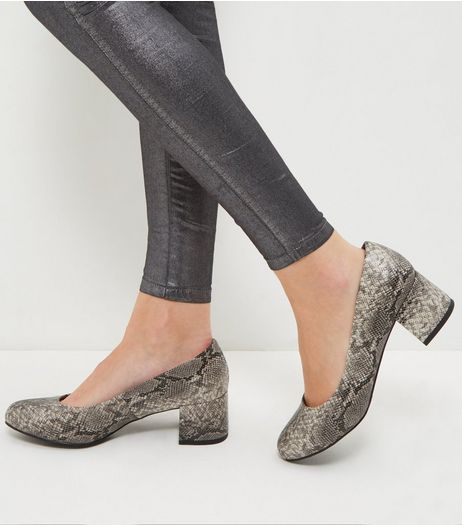 Wide Fit Brown Snakeskin Print Court Shoes  | New Look