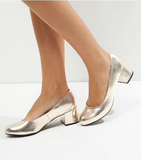 Wide Fit Gold Metallic Block Heel Court Shoes | New Look