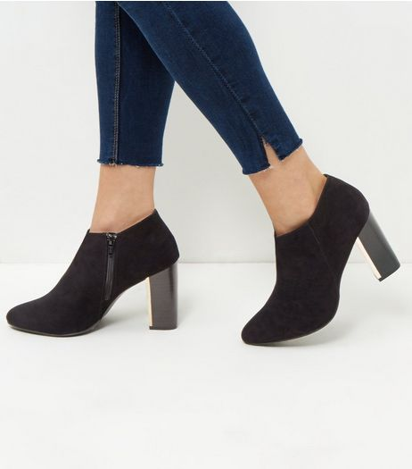 Wide Fit Black Suedette Metal Trim Shoe Boots | New Look