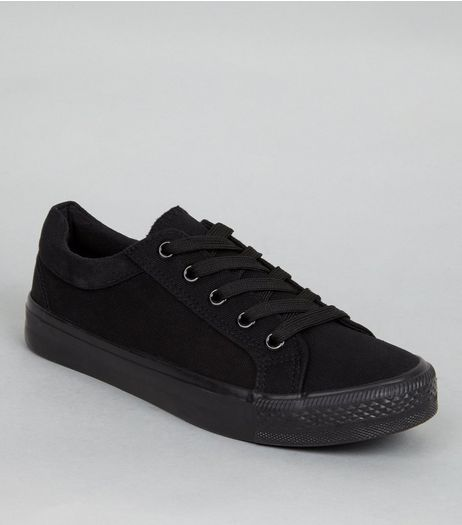 Teens Black Platform Plimsolls  | New Look