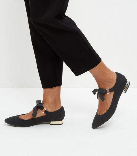 Black Suedette Bow Tie Pointed Pumps  | New Look