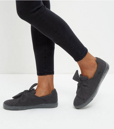 Black Twist Front Slip On Shoes | New Look