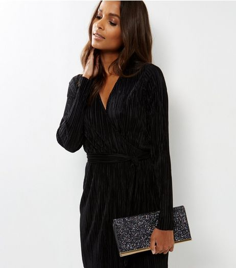 Black Glitter Clutch Bag | New Look