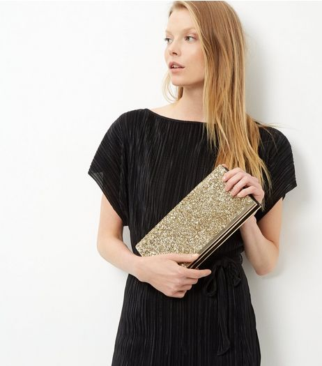 Gold Glitter Clutch Bag | New Look