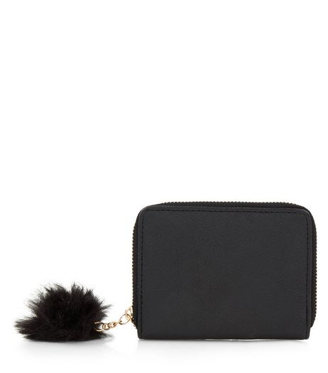 Black Mini Pom Pom Zip Around Purse | New Look