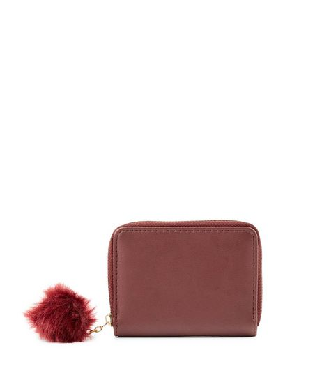 Red Mini Pom Pom Zip Around Purse | New Look