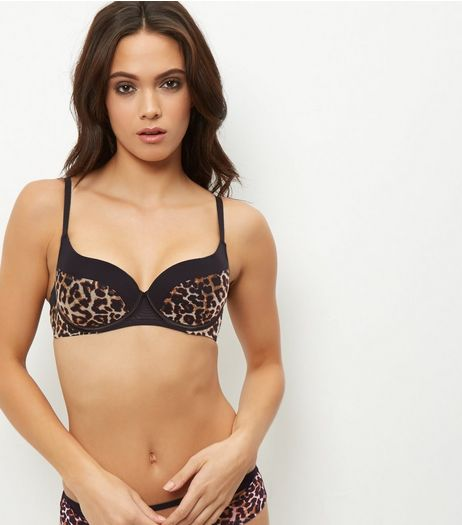 Brown Animal Print Push Up Bra | New Look