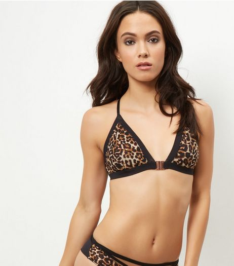 Brown Animal Print Racerback Bralet | New Look