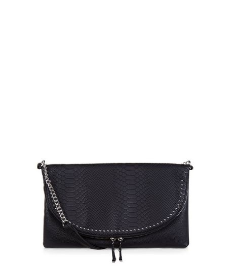 Black Snakeskin Textured Stud Clutch | New Look