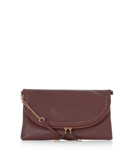 Burgundy Snakeskin Textured Stud Clutch  | New Look