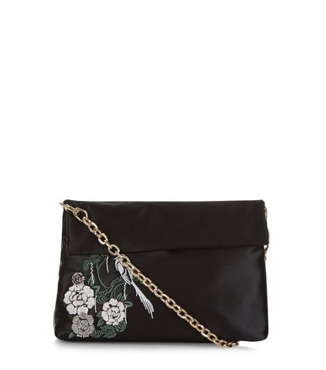Black Flower Embroidered Shoulder Bag | New Look