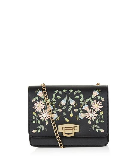Black Embroidered Floral Print Chain Shoulder Bag | New Look