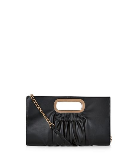 Black Ruched Metal Handle Clutch | New Look
