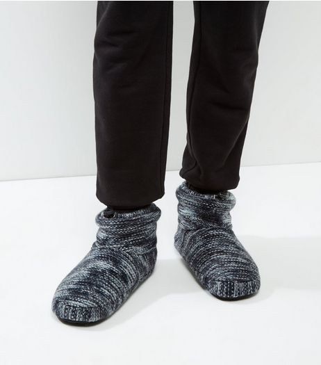 Black Knitted Space Dye Stripe Slipper Boots | New Look