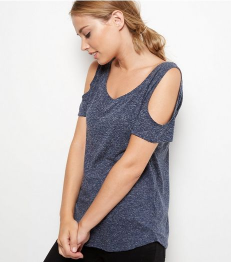 Navy Cold Shoulder T-Shirt  | New Look