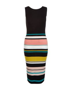 Cameo Rose Black Stripe Sleeveless Midi Dress | New Look