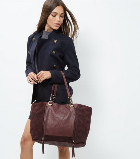 Burgundy Leather Shopper Bag | New Look