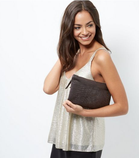 Black Leather Snakeskin Textured Flat Across Body Bag | New Look