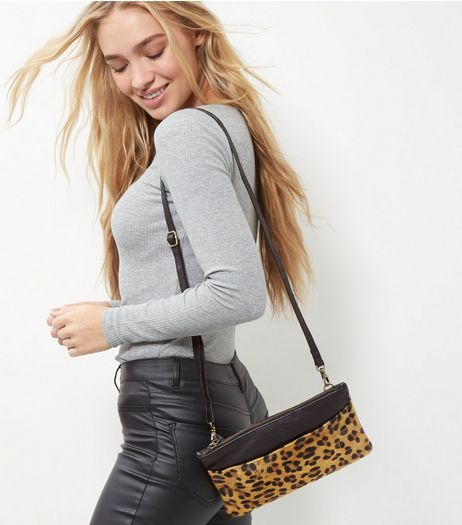 Brown Leather Leopard Print Leather Across Body Bag | New Look