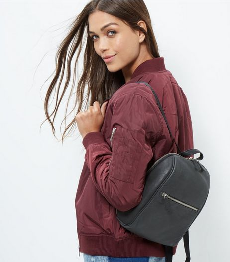 Black Leather Mini Backpack  | New Look