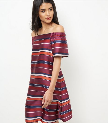 Tall Red Stripe Bardot Neck Dress | New Look