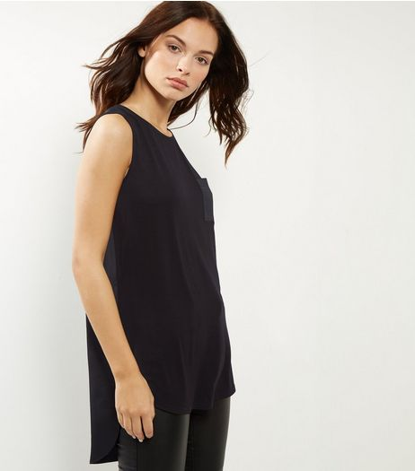 Tall Black Pocket Sateen Shell Top | New Look