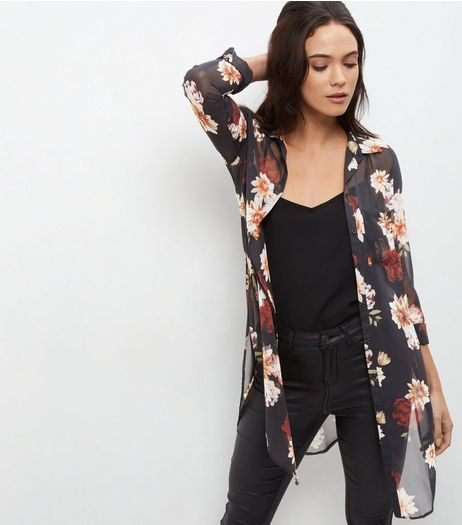 Tall Black Floral Print Longline Shirt  | New Look