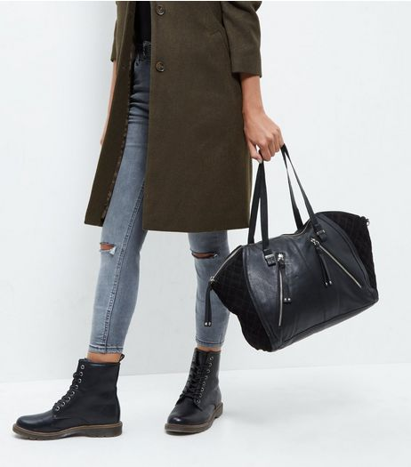 Black Leather Zip Trim Bowler Bag | New Look