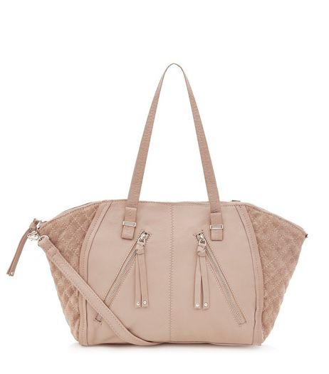 Mink Leather Zip Trim Bowler Bag | New Look
