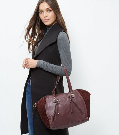 Burgundy Leather Zip Trim Bowler Bag | New Look