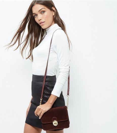 Burgundy Leather Shoulder Bag  | New Look