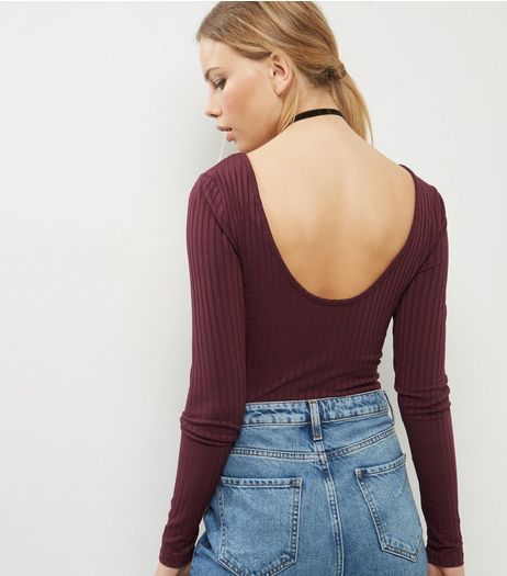 Tall Burgundy Ribbed Scoop Back Bodysuit | New Look