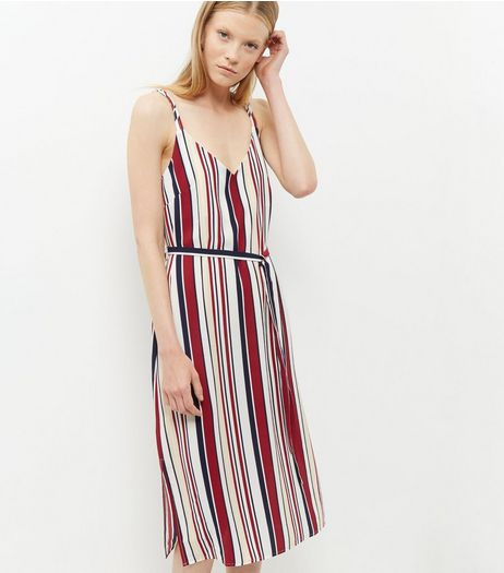 Tall White Stripe Midi Slip Dress | New Look