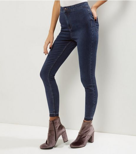 Tall Blue High Waisted Skinny Jeans | New Look
