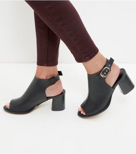 Black Leather-Look Peep Toe Buckle Block Heels | New Look