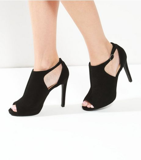 Black Suede Cut Out Peep Toe Heels | New Look
