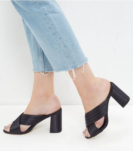 Black Cross Strap Heeled Mules  | New Look