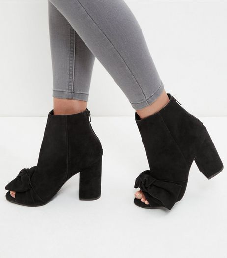 Black Premium Leather Bow Peep Toe Block Heel Boots  | New Look
