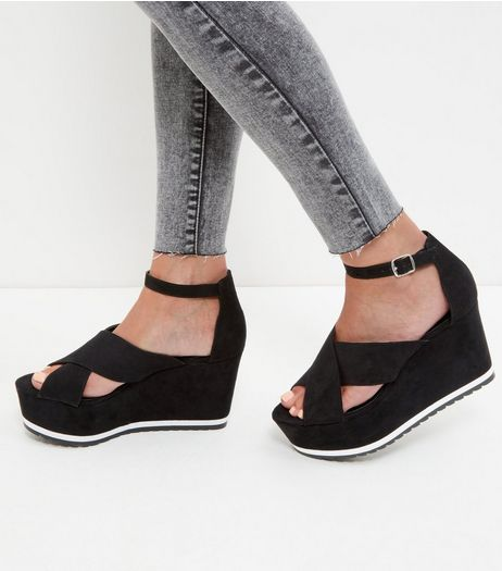 Black Ankle Strap Wedge Sandals | New Look