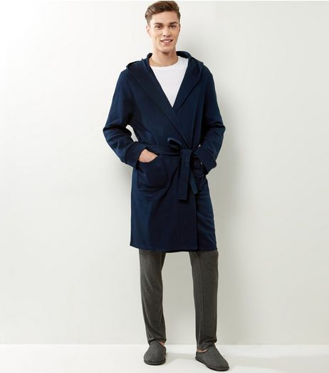 Navy Fleece Belted Waist Robe | New Look