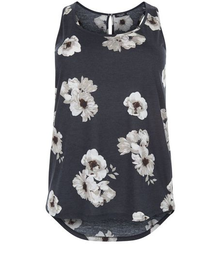Curves Black Floral Print Vest | New Look