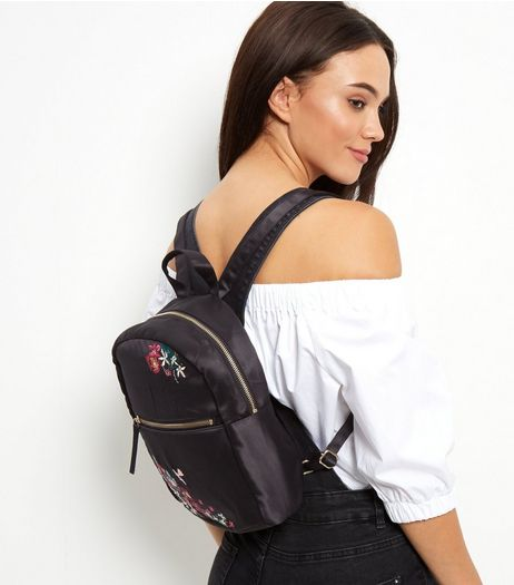 Black Embroidered Mini Backpack | New Look